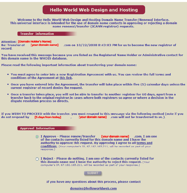 Domain Transfer Acceptance Screen